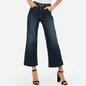 Express High Waisted Cropped Wide Leg Jean